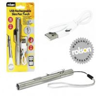 ROLSON USB RECHARGEABLE SLIM PEN TORCH POCKET CLIP ALUMINIUM ALLOY FD56